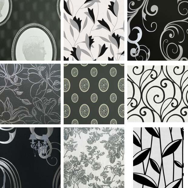 черно-белые обои для стен. фото